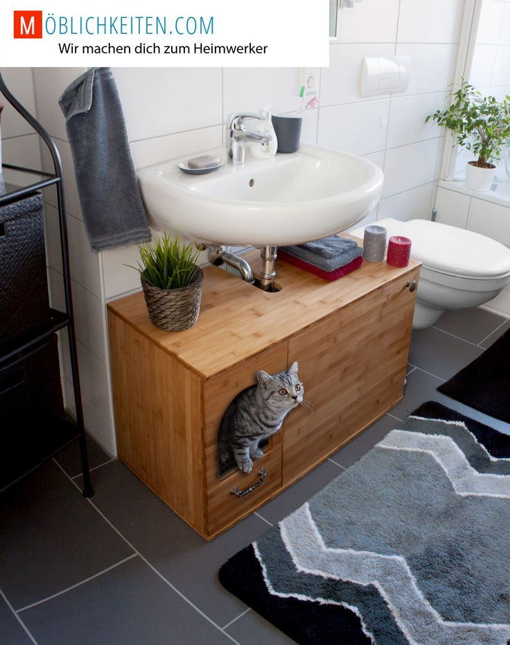 Litter box as washbasin cabinet. End with the cheap litter box from ...