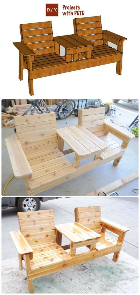 DIY Double Chair Bench with Table Free Plans Instructions - Outdoor Patio #Furni...