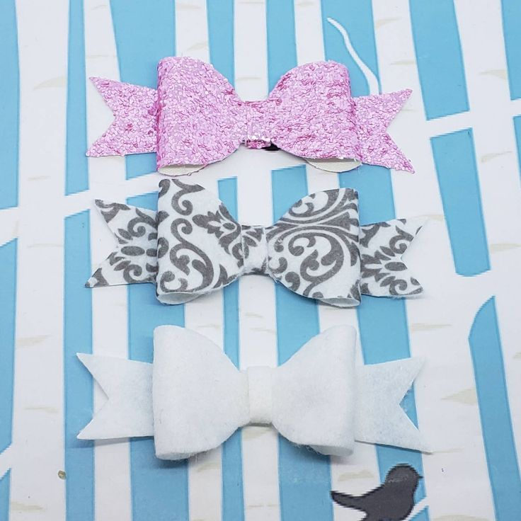 Pink and Gray Damask Boutique Hair Bow Trio / Perfect Hair Bows Felt and Vinyl H...