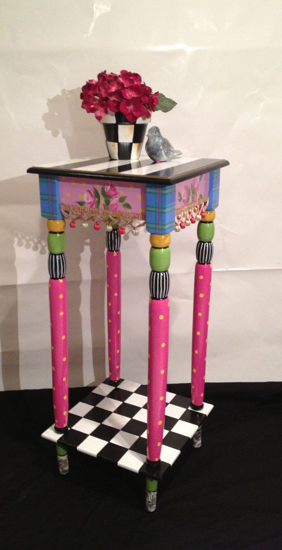 Incredible 30x30cm Hand Painted Accent Side Table - Plaid - Stripes - Polka ...