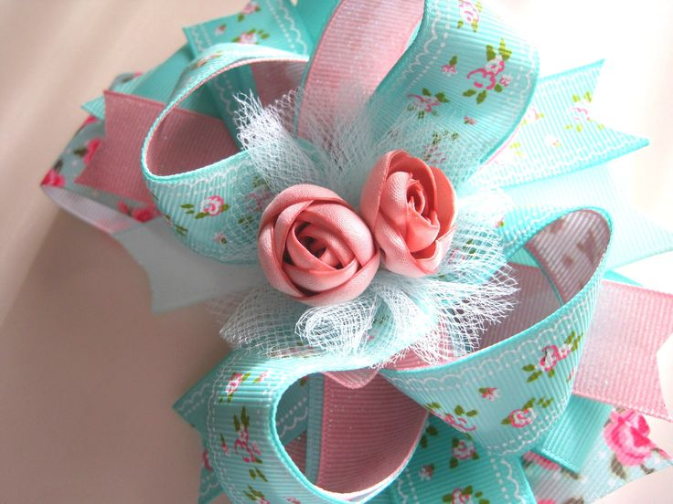 Spring flower stacked boutique hair bow - Easter hair bow, girls spring hair bow...
