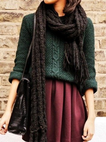 Opt for a dark green knit sweater and a dark red ...
