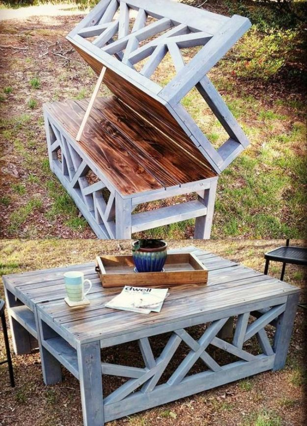 DIY Patio Furniture Ideas - Outdoor Bench With Fold Out Table - Step by Step Tut...