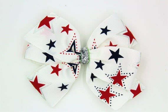 Patriotic Stars Boutique Hair Bow, 5 inches wide