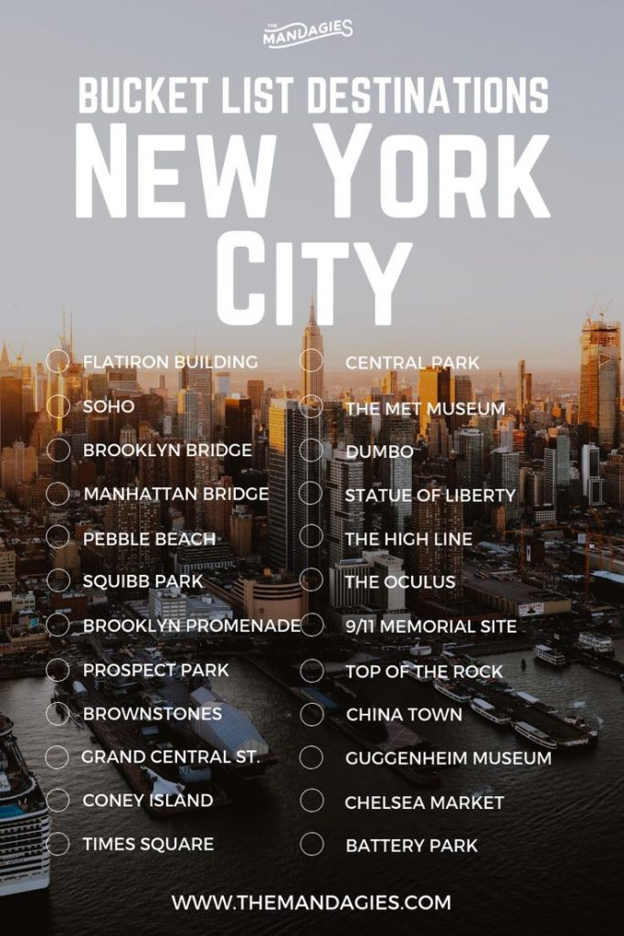 New York City Bucket List. Save this pin for travel inspiration later, and click...