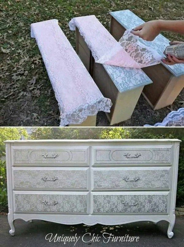 Give the old dresser a new look by silver spraying them over lace to get the sha...