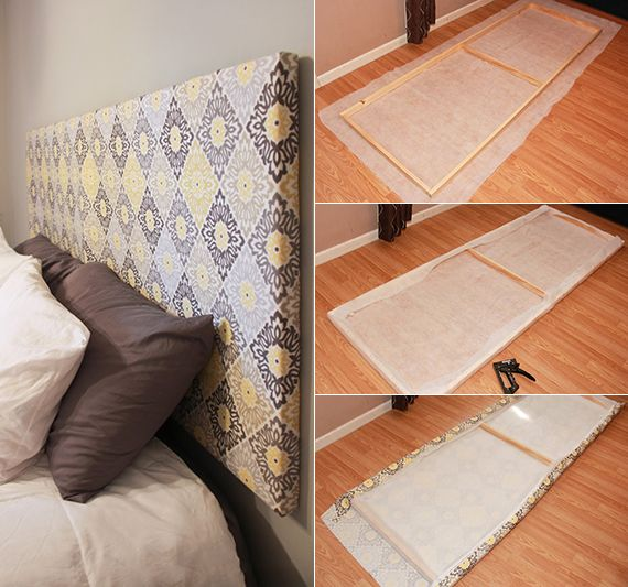 bed headboard itself making wooden frame and fabric as cool bedroom insp ...