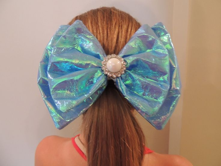 The Hair Bow Factory Iridescent Light Blue  Boutique Hair Bow Unicorn