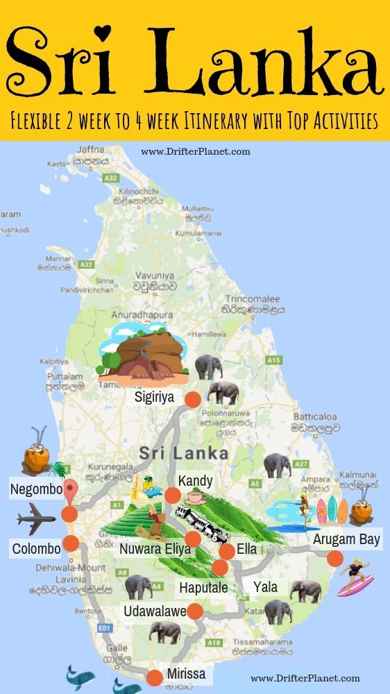 Infographic and Map - Sri Lanka Itinerary - Flexible 2 week to 4 week Itinerary ...