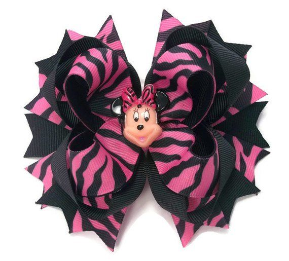 Mouse Pink And Black Zebra,   Boutique Hair Bows,  Girls Hair Bows, Toddler Hair...