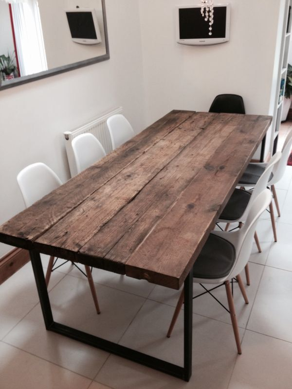 Reclaimed Industrial Chic 6-8 Seater Solid Wood and Metal Dining Table.Bar and C...