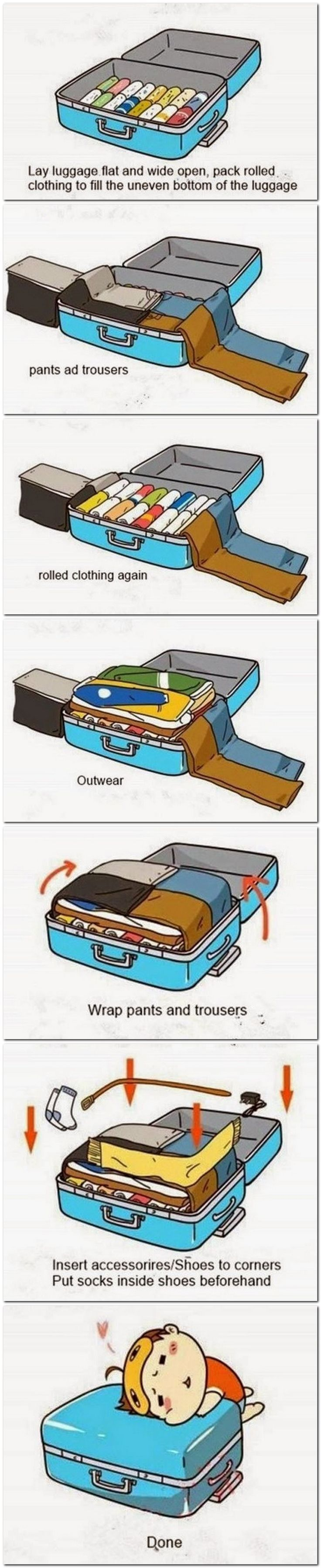 Packing tips, to make fitting everything in your suitcase a breeze! #travel #lug...