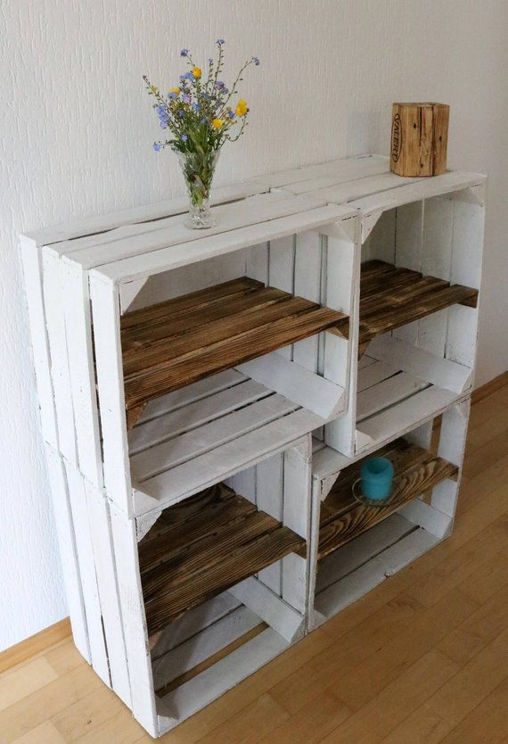 These beautiful old white wooden boxes with flamed intermediate board are ...
