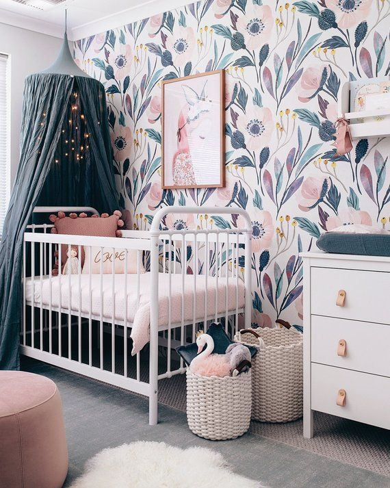 Teal and purple floral wallpaper for baby girl nursery. This site has a ton of g...