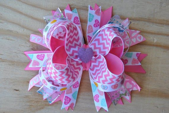 Pink chevron boutique bow, Girls hair bow, OVER THE TOP hair bow, non slip bow, ...