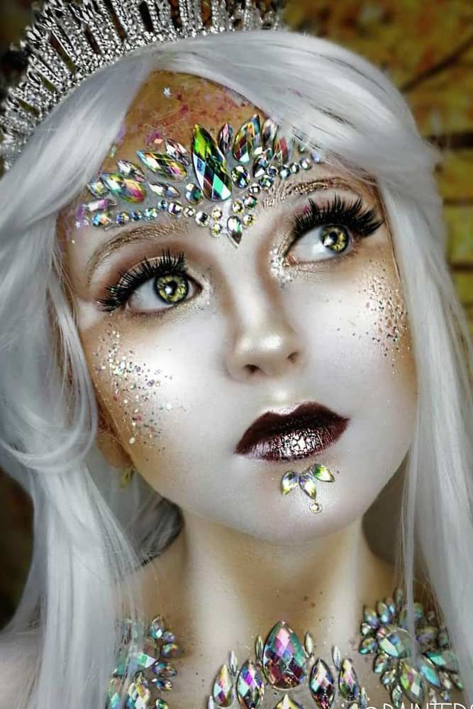 Fantasy Sparkly Snow Queen #snowqueen Explore magic fantasy makeup looks: tribal...
