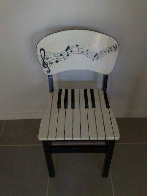 funky painted dining chairs | Musical chair painted by me by marcia
