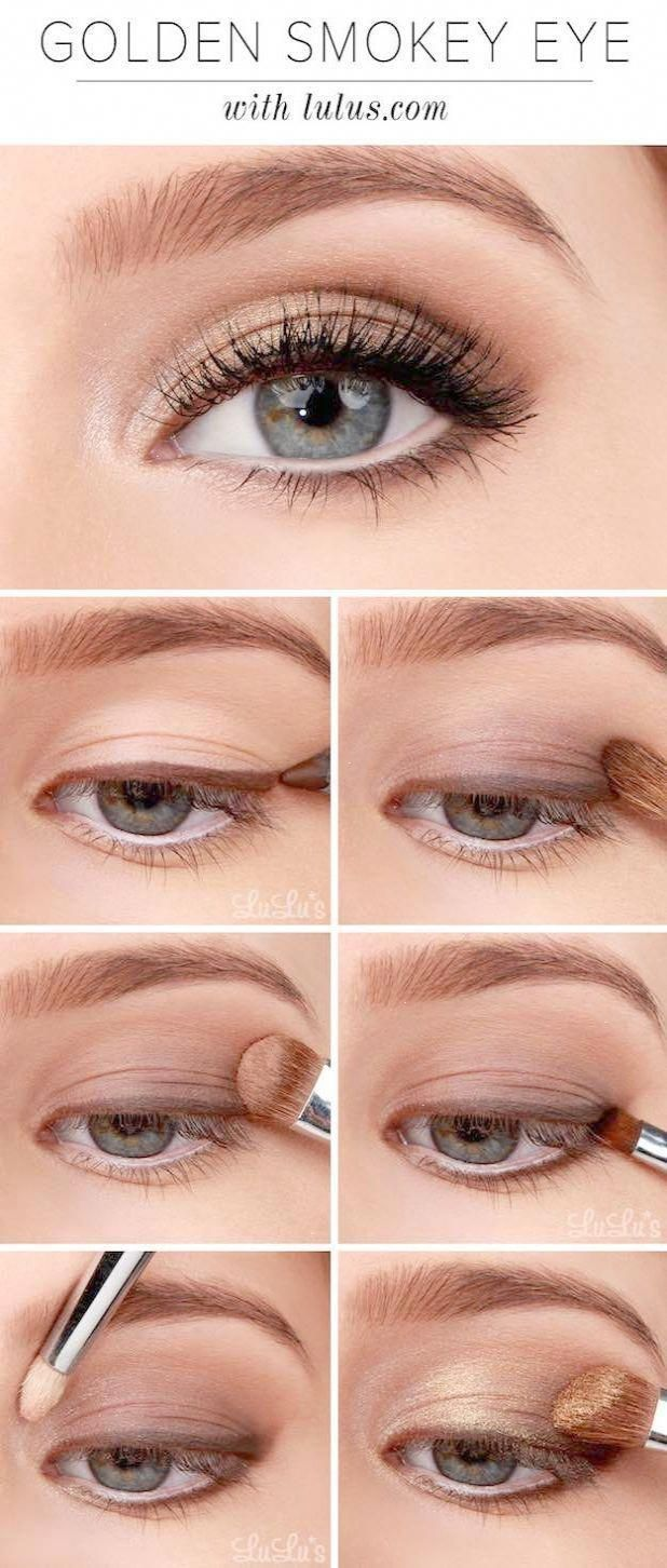 Makeup Tutorials for Blue Eyes -Lulus Instructions: Golden Smokey Eyeshadow Tutorial ...