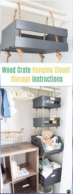 DIY Wood Crate Hanging Closet Storage Instructions - DIY Wood Crate Furniture Id...