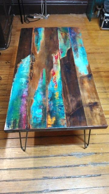 painted coffee table. Abstract art on distressed wood. | Etsy #Furniture
