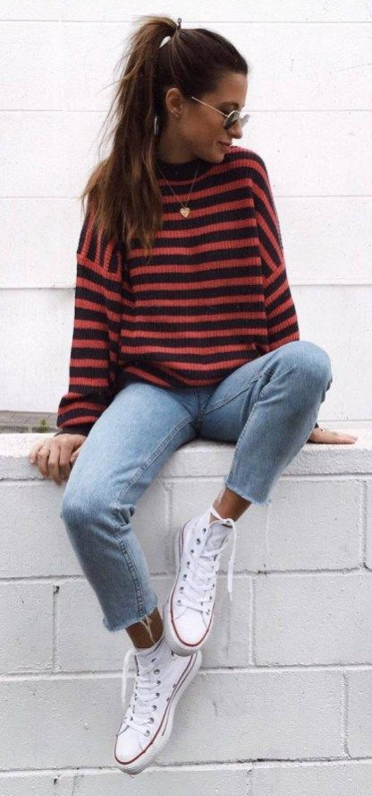 Cute Fall Outfit Stripped Sweater Plus Jeans Plus Converse
