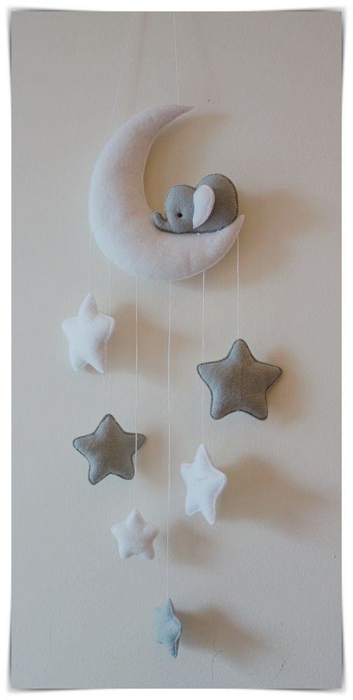 Sleepy elephant & star baby nursery decor. Drops of stars (...