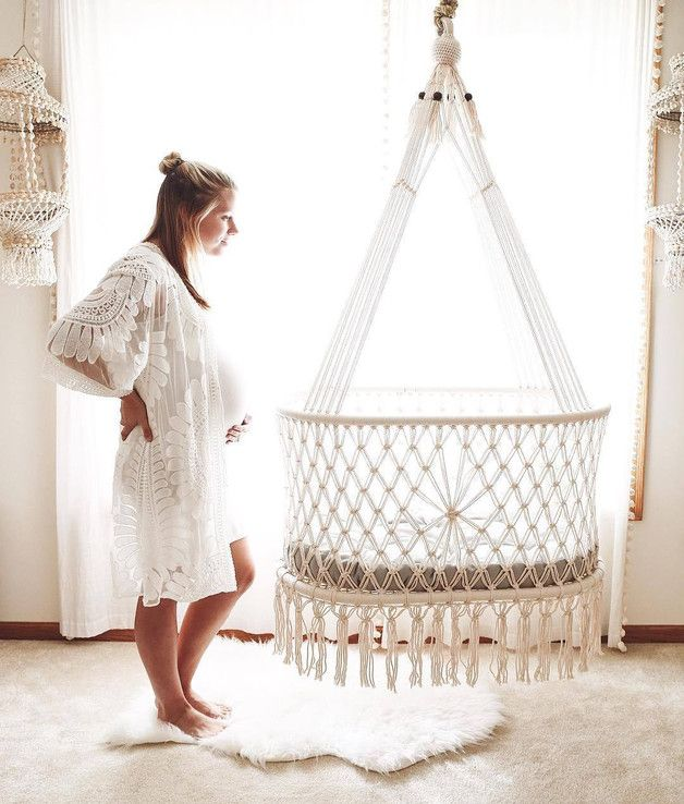 Macrame cradle with mattress and mattress cover - baby furniture - baby - with love h ...