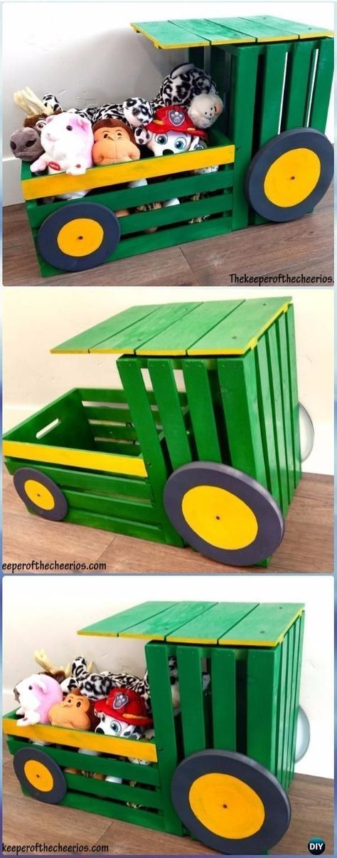 DIY Wood Crate Tractor Toy Box Instructions - DIY Wood Crate Furniture Ideas Pro...