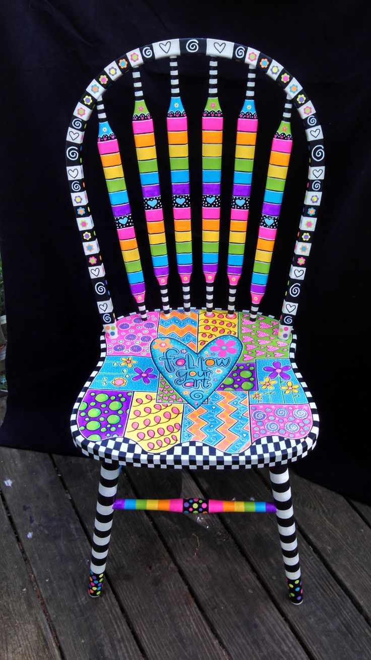 Brightly painted furniture...My Happy Chair makeover mysingingheartart...