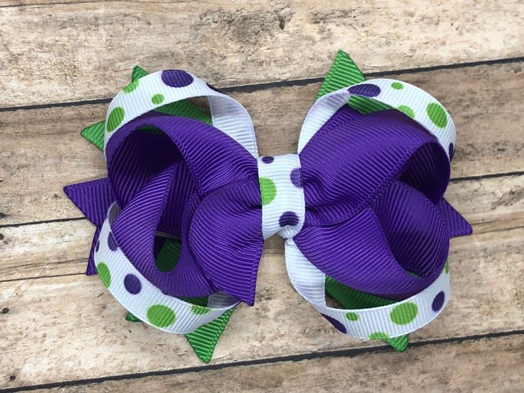Excited to share this item from my #etsy shop: Purple boutique hair bow - hair b...