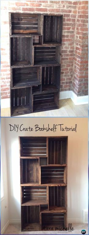 DIY Wood Crate Bookshelf Instructions - DIY Wood Crate Furniture Ideas Projects