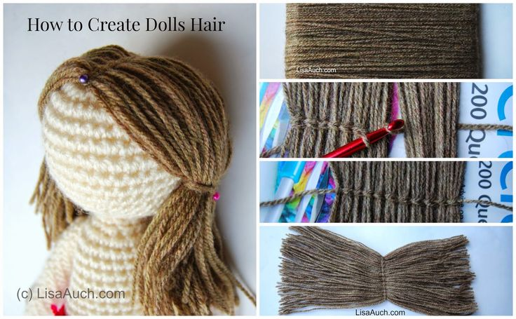 Free Crochet Patterns and Designs by LisaAuch: How to Crochet Dolls Hair (easy)