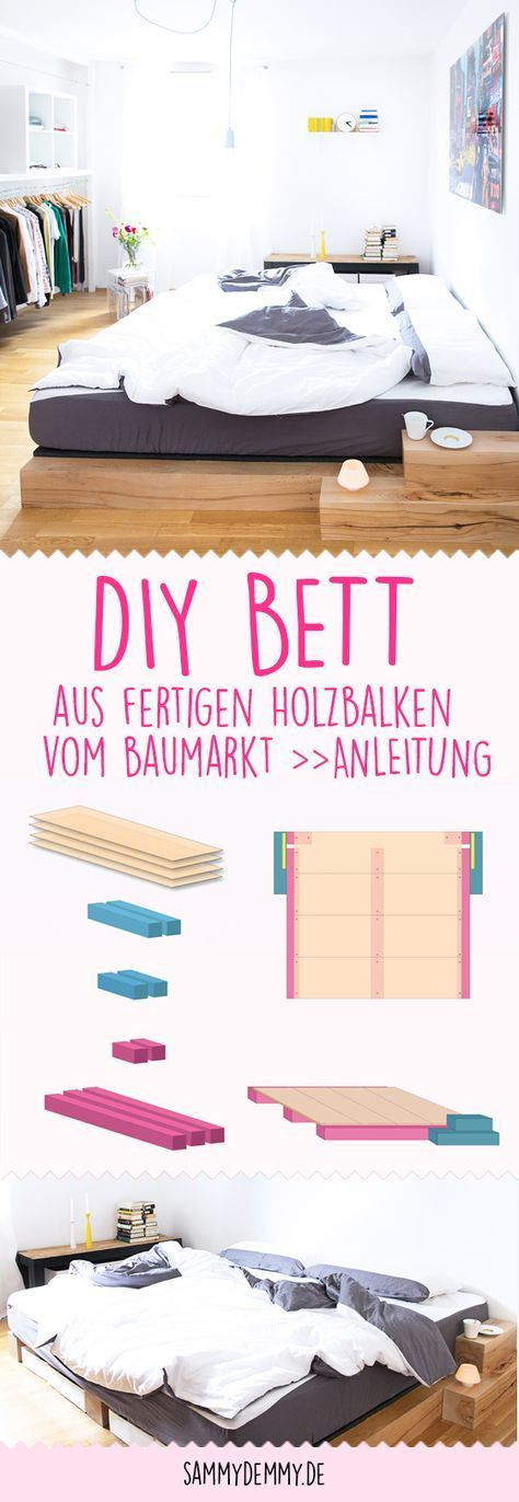 This stylish DIY bed can be made from finished solid wood beams from the hardware store ...