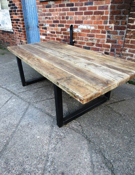 Industrial chic 10-12 seater solid wood and metal food