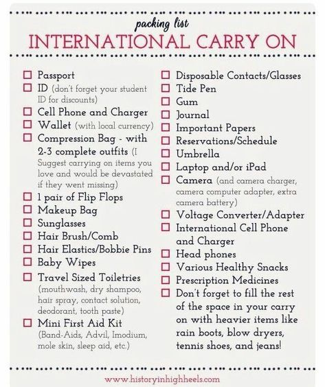Packing Tips: International Carry On Checklist...pretty basic stuff but a remind...