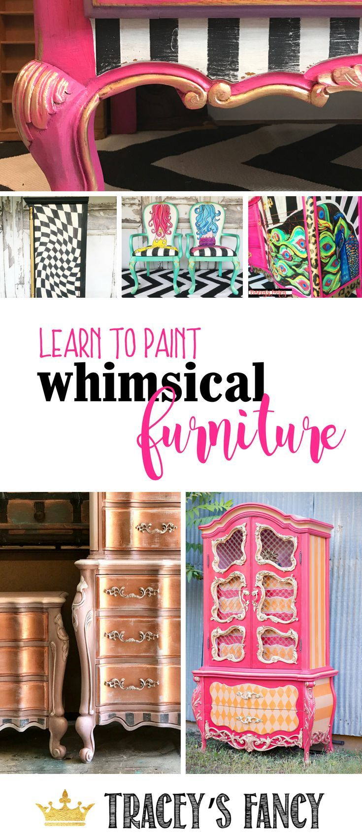 Learn How to Paint Whimsical Furniture with Tracey Bellion | Learn to paint Stri...
