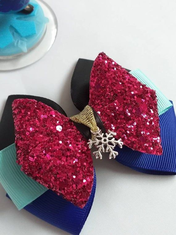 Anna, Frozen inspired pinwheel style layered hair bows. Design A - Made with 38m...