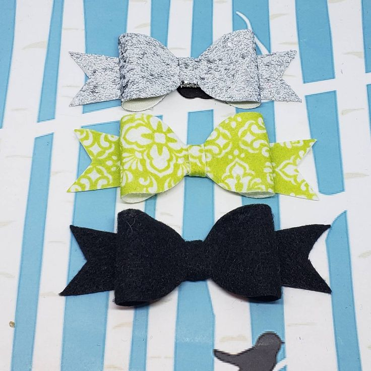 Green and Gray Damask Boutique Hair Bow Trio / Perfect Hair Bows Felt and Vinyl ...