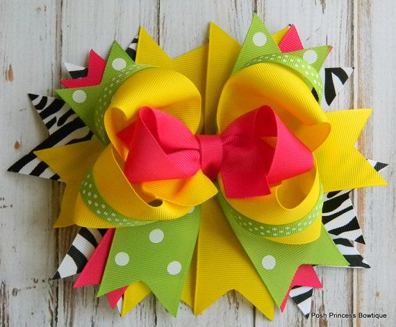 Girls hair bows Boutique hair bow Yellow Pink Green Black Zebra Stacked hair bow...
