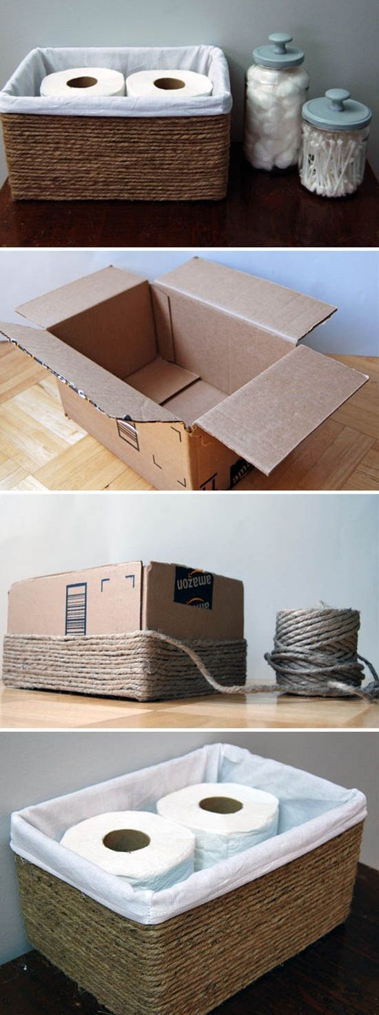 Wrap carton with rope to get a basket