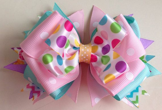 EASTER Stacked Boutique Hair Bow // Easter Hair by FrillyBowPeep, $6.00