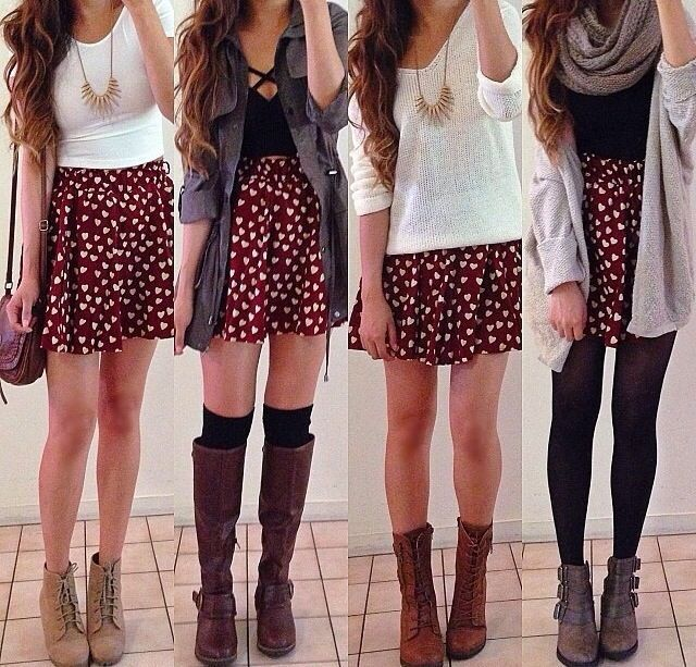 Such a cute idea with just one skirt, outfits, college, summer, cute - #College ...