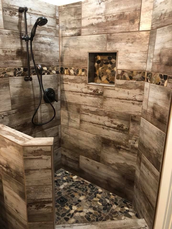 This beautiful rustic-modern shower combines ... - #This #shower #combination ...