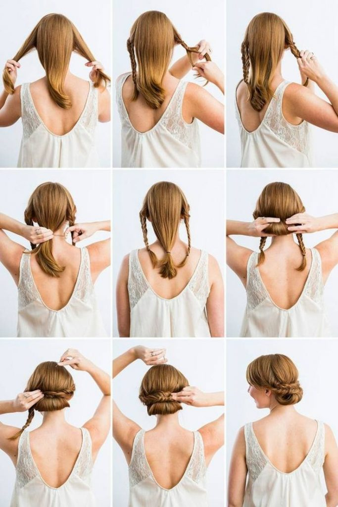 easy hairstyle to bun low braided step by step