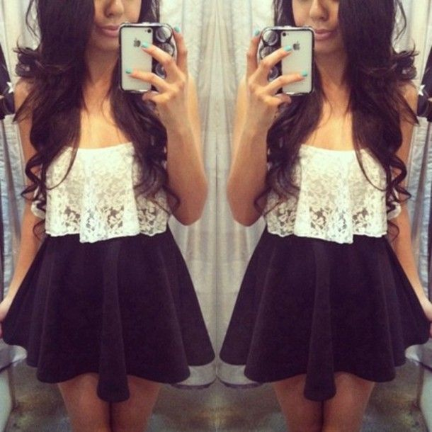 Tank top: pretty, tumblr, lace, crop, top, skater, skirt, black ...