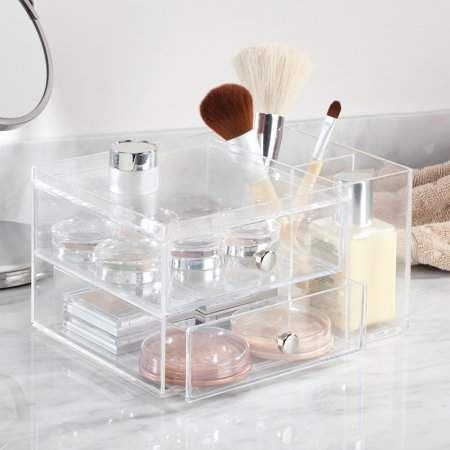 InterDesign Clarity Cosmetic Organizer for Vanity Cabinet to Hold Makeup, Beauty...