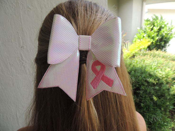 The Hair Bow Factory Breast Cancer Pink Ribbon Vinyl Boutique Hair Bow