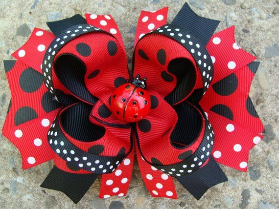 Large red and black Boutique Hair Bow Lady Bug Boutique Stacked Hair Bow Hair Cl...