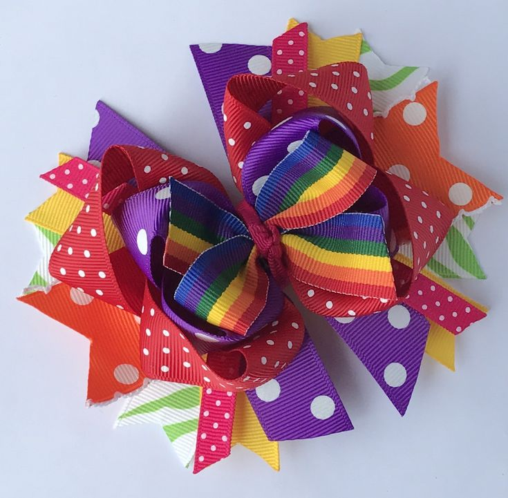 Boutique Hair Bow Over the top Bow Stacked Hair Bow Rainbow