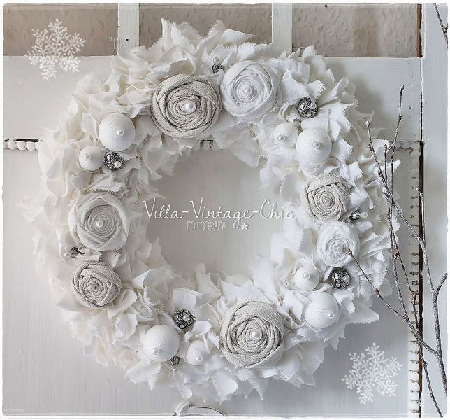 Fabric Wreath Old Linen ~ Winter Fairy Tales ~ Roses from Villa-Vintage-Chic on Aliexpress ...